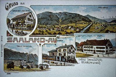 Saaland-Au, Wirtschaft v. Rud. Stutz, Fabrick Grühnthal, Bahnhof, Gasthof & Post zur Krone