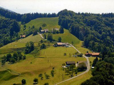 Bauma: Luftaufnahme Oberer Wolfensberg, Dunkelwies, Läseten