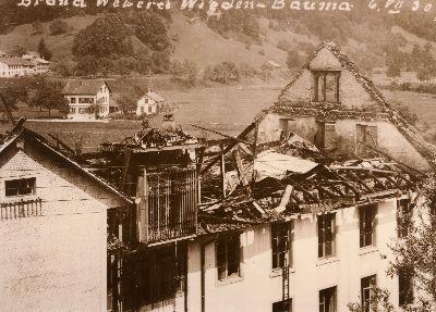 Feuerwehr Bauma: Brand Weberei Widen: 6. Juli 1930