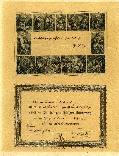 Konfirmationsspruch Johannes Diener in Altlandenberg