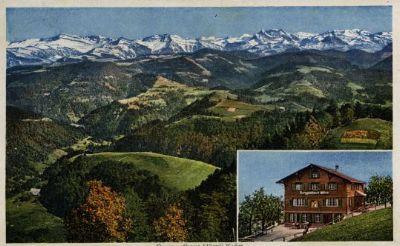 Blick vom Berggasthaus Hörnlikulm ins Tösstal und die Alpen