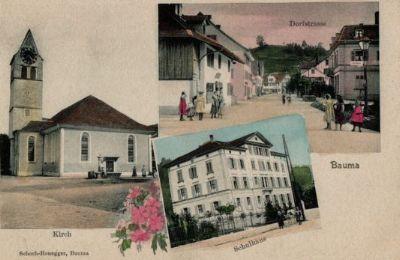 Dorfstrasse, Kirche, Schulhaus