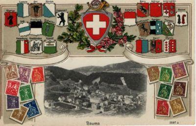 Bauma mit Wappen und Briefmarken
